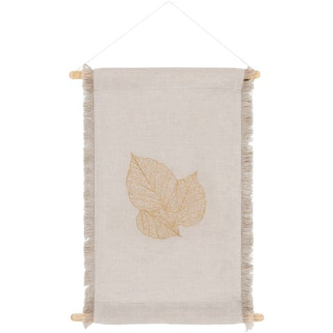 Akiha Embroidered Leaf Woven Linen Blend Tapestry