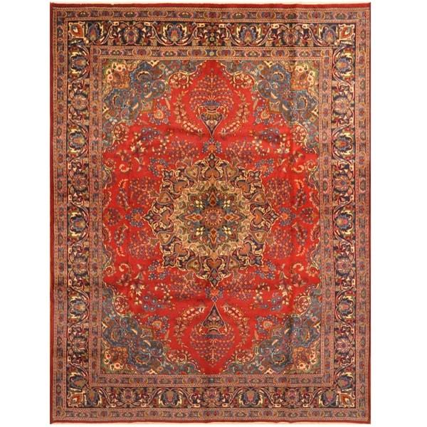 Handmade One-of-a-Kind Mashad Wool Rug (Iran) - 9'10 x 13'