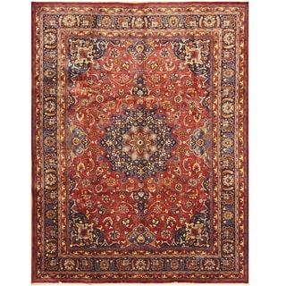 Handmade One-of-a-Kind Signature Mashad Wool Rug (Iran) - 9'8 x 12'10