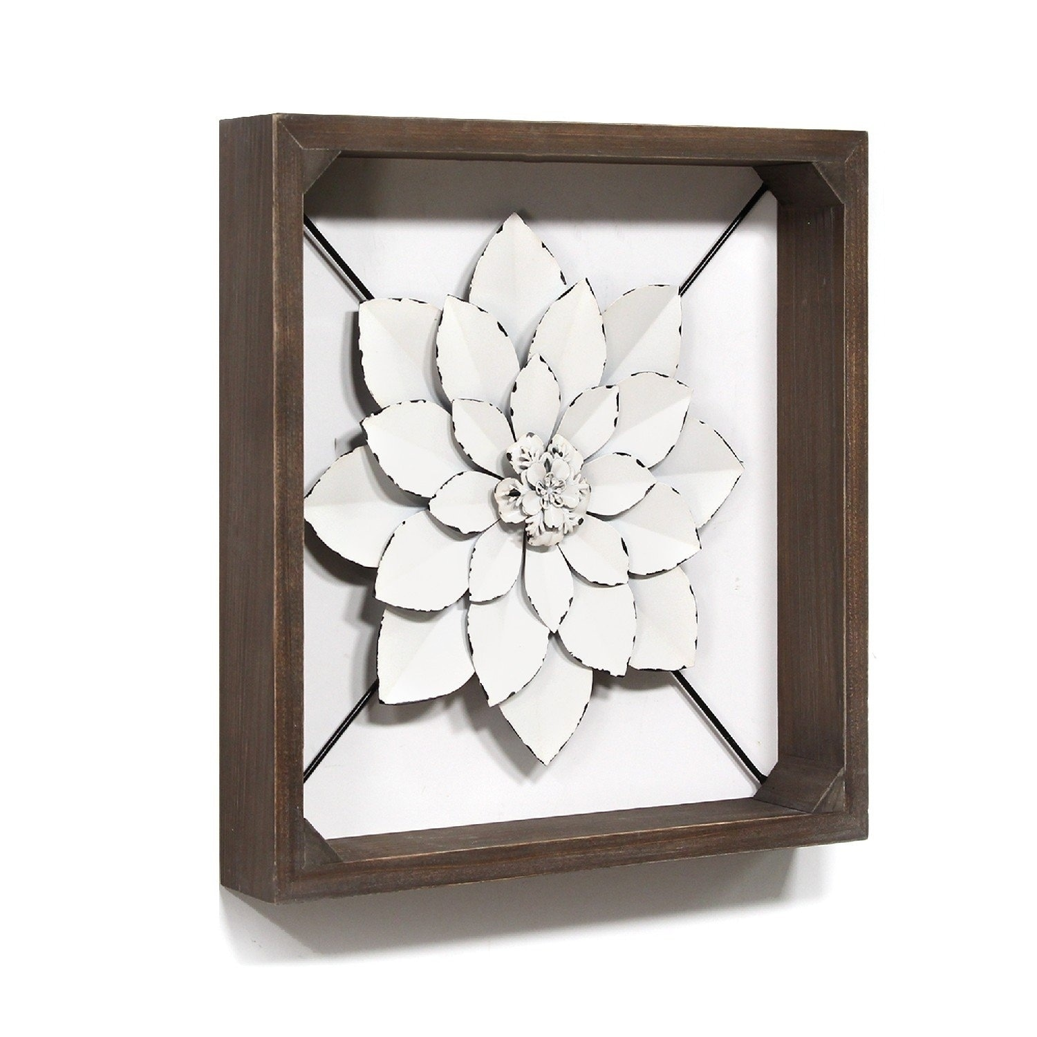 Stratton Home Decor White Framed Metal Flower Overstock 28423866