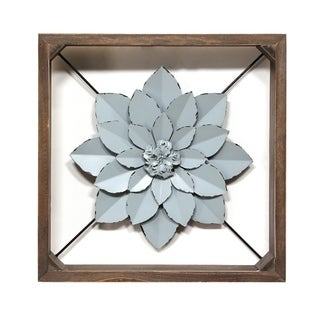 Stratton Home Decor Blue Framed Metal Flower - N/A