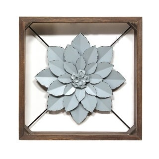 Stratton Home Decor Blue Framed Metal Flower