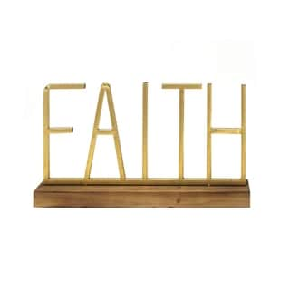 Stratton Home Decor Metal and Wood  Faith Table Top