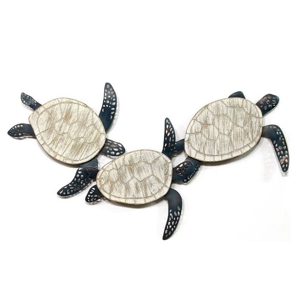 Stratton Home Decor Metal and Wood Carved Turtle Wall Decor - N/A
