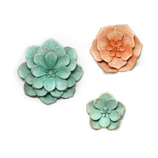 Stratton Home Decor Set of 3 Stunning Tricolor Metal Flowers - N/A