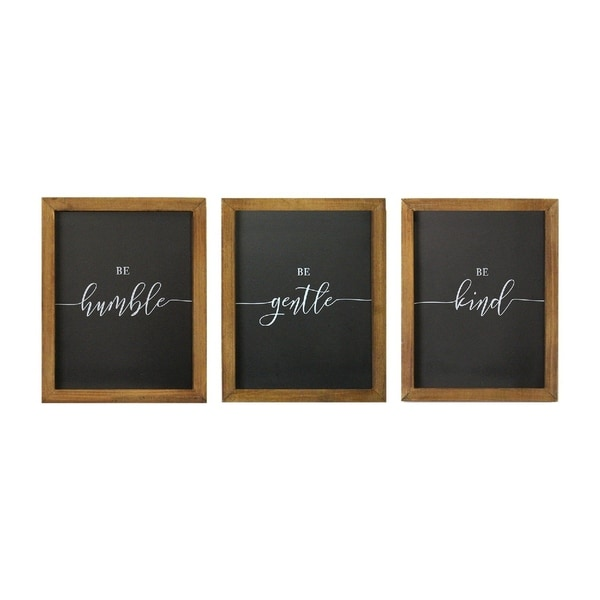 """Stratton Home Decor Set of 3 """"Be"""" Wall Art"""