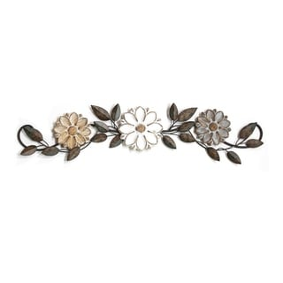 Stratton Home Decor Wood and Metal Floral Over the Door Wall Decor