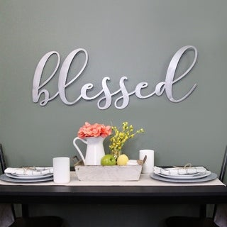 Porch & Den Oversized 'Blessed' Metal Sign - N/A