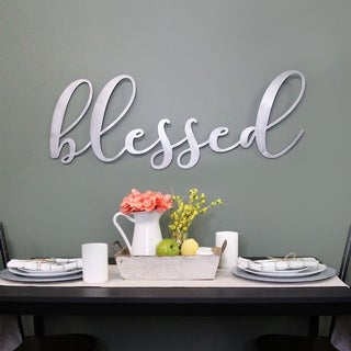 Link to Porch & Den Oversized 'Blessed' Metal Sign Similar Items in Decorative Accessories