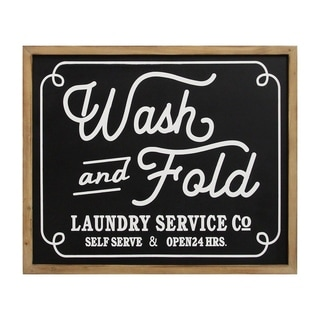 Stratton Home Decor Wash and Fold Laundry Sign Wall Decor - N/A