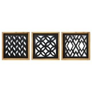 Stratton Home Decor Modern Wood and Metal Laser Cut Set Wall Decor