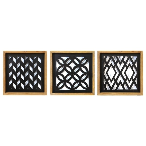 Stratton Home Decor Modern Wood and Metal Laser Cut Set Wall Decor