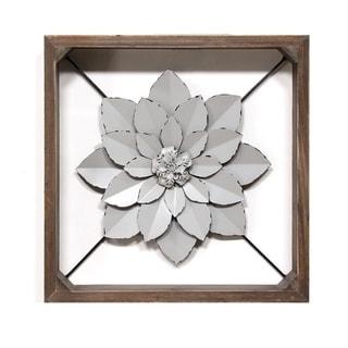 Stratton Home Decor Grey Framed Metal Flower - N/A