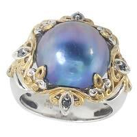 Michael Valitutti Palladium Silver Blue Mabe Pearl & Black Diamond Ring