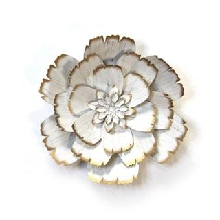 Stratton Home Decor White Metal Flower - N/A