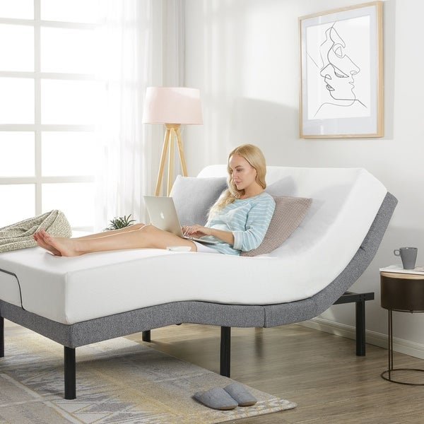 Adjustable Bed Base with Added Head Tilt/Wireless Remote Control, 5 Minute Assembly, Dual USB Charging Ports - Crown Comfort