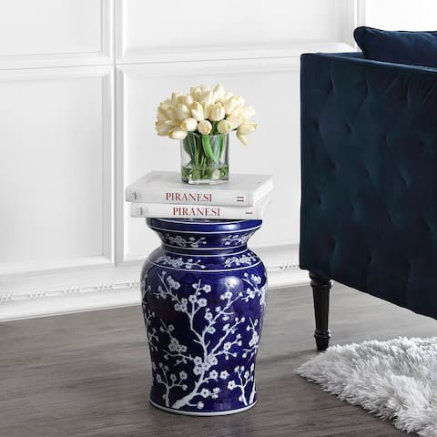 "Cherry Blossom 17.7"" Ceramic Garden Stool, Navy/White by JONATHAN Y"