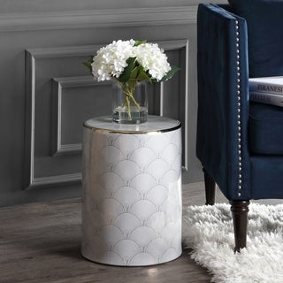 """Fish Scale 17"""" Modern Ceramic Garden Stool, White/Gold by JONATHAN  Y"""
