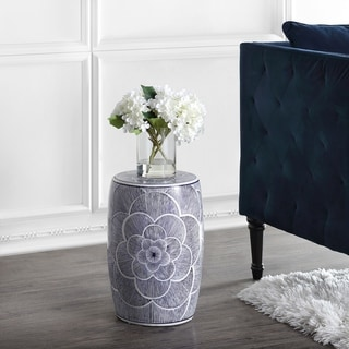 "Link to Camellia 17"" Ceramic Drum Garden Stool, Blue by JONATHAN  Y Similar Items in Outdoor Decor"