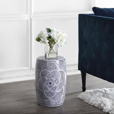 "Camellia 17"" Ceramic Drum Garden Stool, Blue by JONATHAN Y"