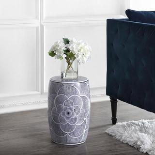 "Camellia 17"" Ceramic Drum Garden Stool, Blue by JONATHAN  Y"