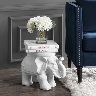 "White Elephant 14.2"" Ceramic Garden Stool, White by JONATHAN  Y"