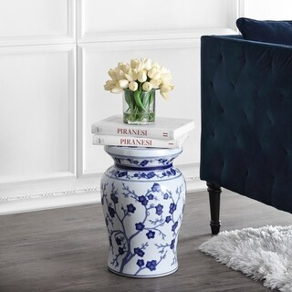 Wondrous Cherry Blossom 17 7 Ceramic Garden Stool White Blue By Jonathan Y Overstock Com Shopping The Best Deals On Garden Accents Andrewgaddart Wooden Chair Designs For Living Room Andrewgaddartcom