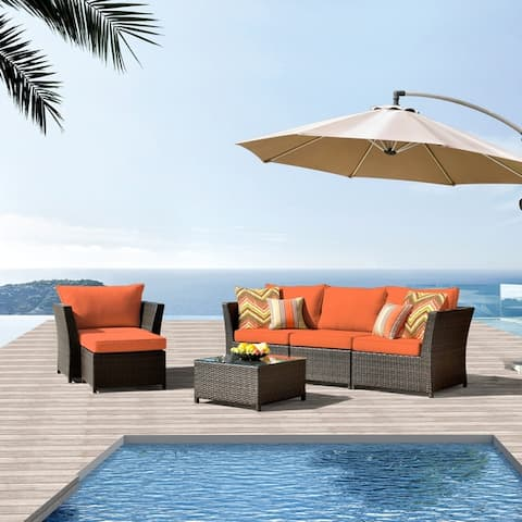Kegashka 6-piece Patio Sectional Set with 2 Throw Pillows by Havenside Home