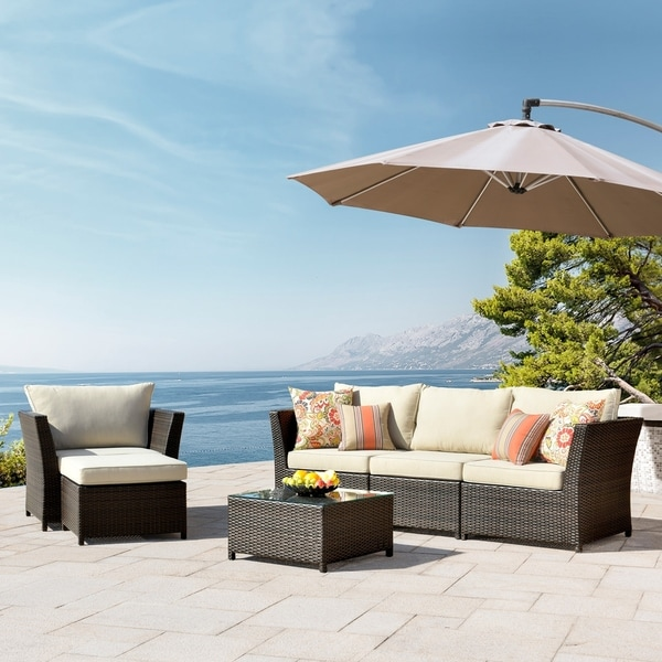 Kegashka 6-piece Patio Sectional Set with 2 Throw Pillows by Havenside Home. Opens flyout.
