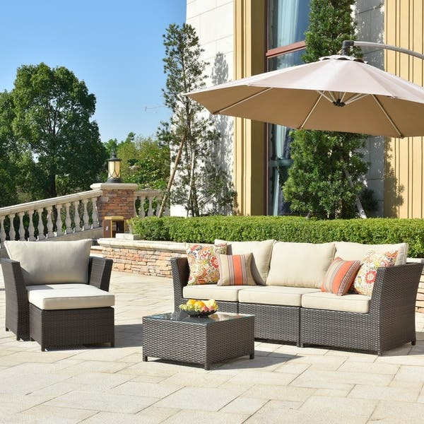 Ovios Patio Furniture 6 Pcs Sets Wicker Sectional With 2 Pillows And Cover No