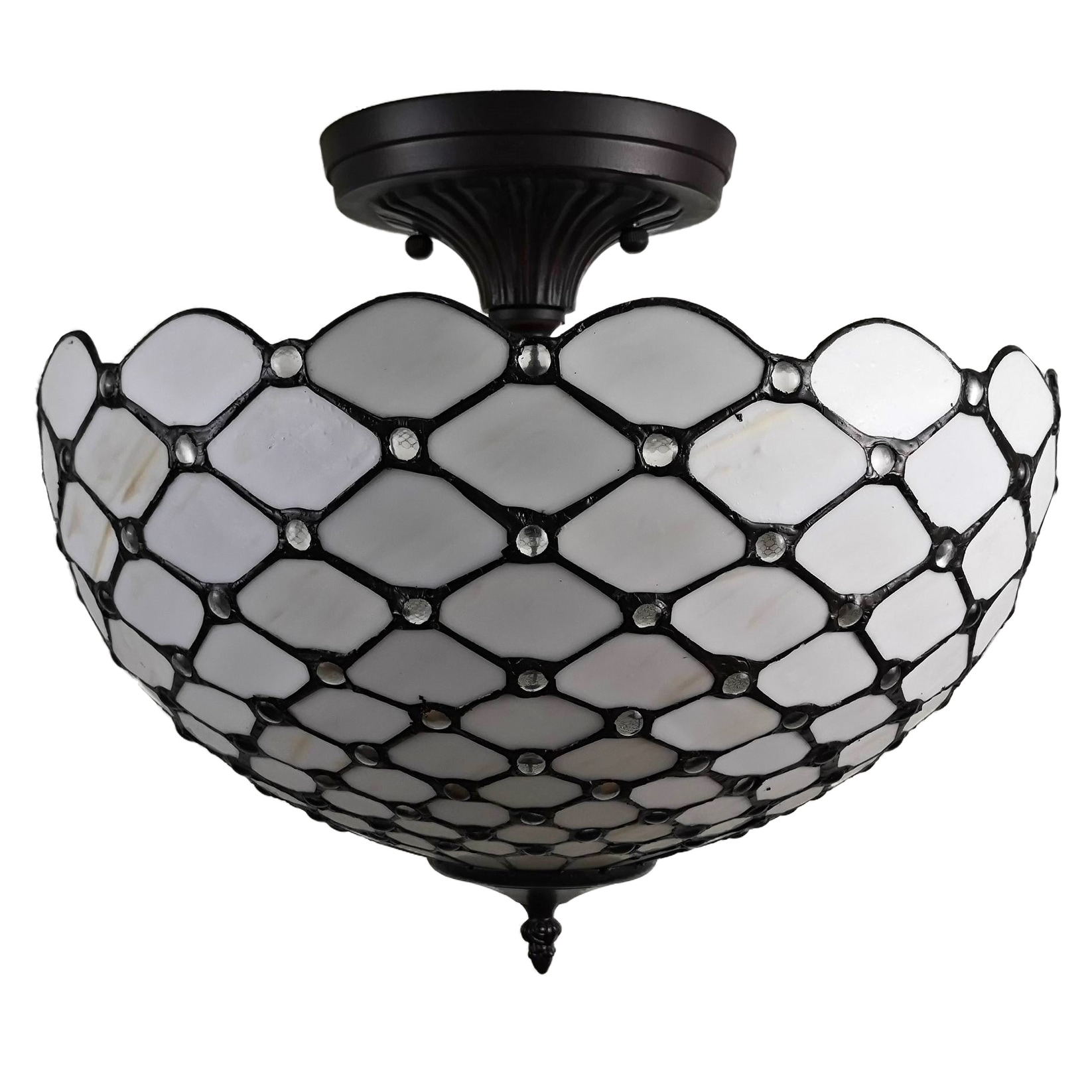 Tiffany Style Ceiling Fixture Lamp Jeweled Semi Flush 16 Wide Stained Glass White Bedroom Gift Am086cl16b Amora Lighting