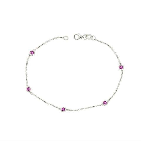 Noray Designs 14K Gold 0.30 Ct Ruby 5 Station Bracelet, 7 Inches