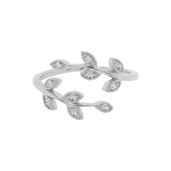 Noray Designs 14K Gold Diamond (0.10 Ct, G-H Color, SI2-I1 Clarity) Bypass Leaf Ring