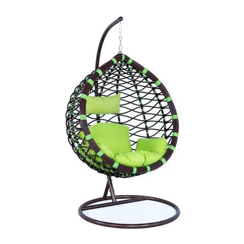 LeisureMod Indoor Outdoor Wicker Hanging Egg Swing Chair in Green