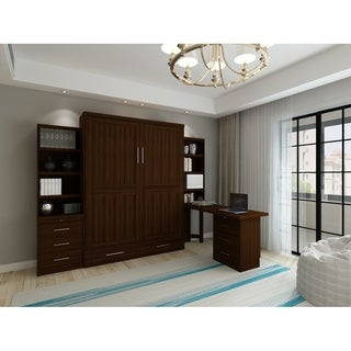 Brentwood Queen Murphy Bed with One Pier and Pedestal Desk with Hutch