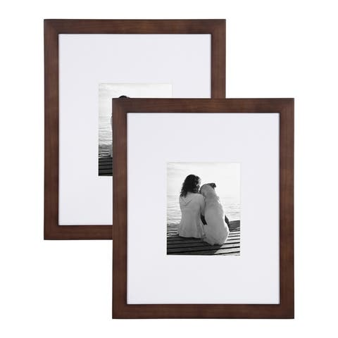 DesignOvation Museum 14x18 matted to 11x14 Wood Picture Frame, Set of 2