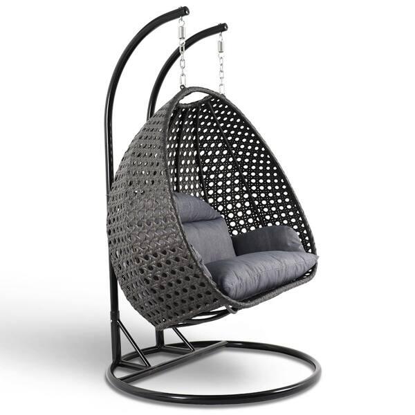 Astonishing Shop Leisuremod Indoor Outdoor Wicker 2 Person Hanging Egg Theyellowbook Wood Chair Design Ideas Theyellowbookinfo