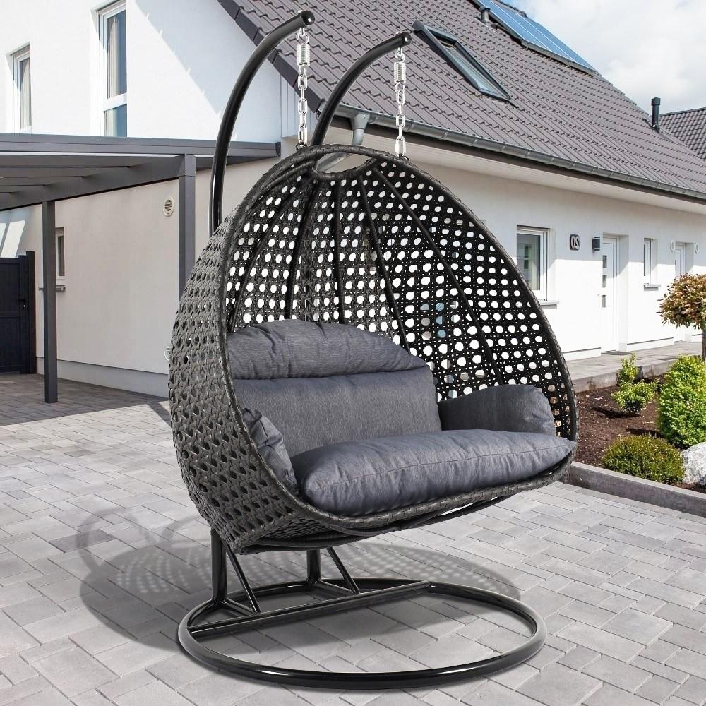 Leisuremod Indoor Outdoor Wicker 2 Person Hanging Egg Swing Chair