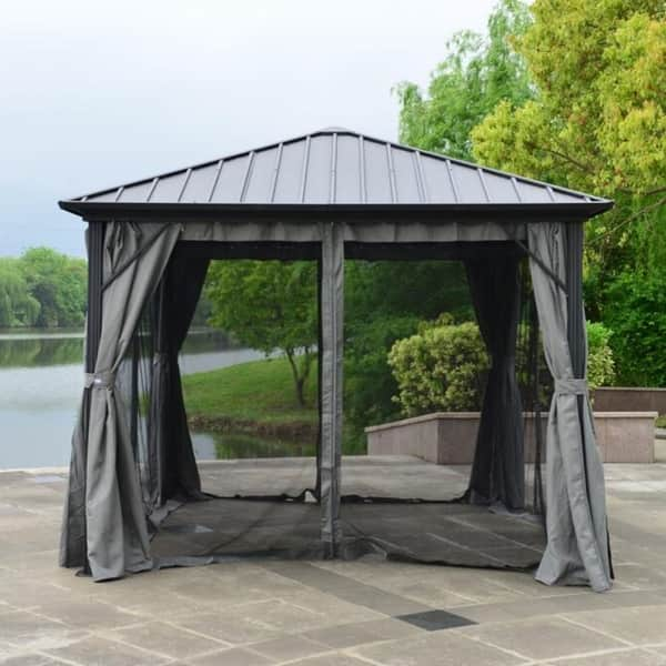 U Black Hardtop Gazebo With