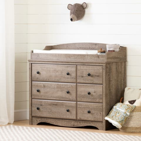 South Shore Angel Changing Table 6-drawers, Weathered Oak