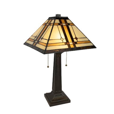 Tiffany Style Table Lamp-Mission Design Art Glass by Lavish Home
