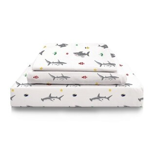 Link to Porch & Den Trenton Kid's Shark Pattern Flannel Sheet Set Size- Queen Similar Items in Kids Sheets & Pillowcases