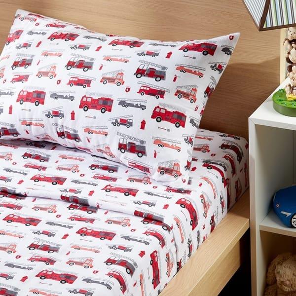 Porch Den Sonnet Kid S Fire Truck Pattern Cotton Flannel Sheet Set Size Queen On Sale Overstock 28424698