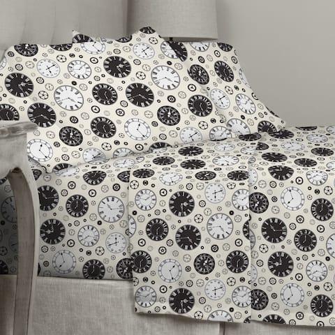 Porch & Den Rockne Clock Pattern Cotton Flannel Sheet Set - Size: Queen