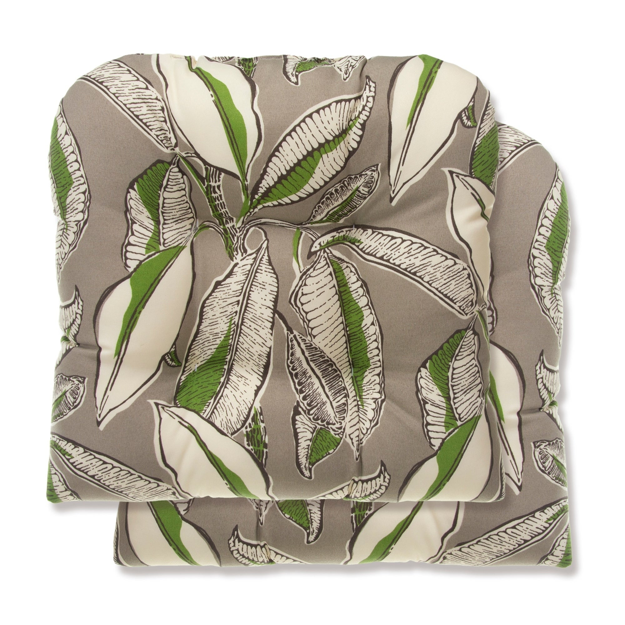 Havenside Home Glasgow Tropical Leaves Reversible Tufted Wicker Chair Cushion Set Of 2