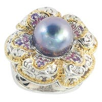 Michael Valitutti Palladium Silver Peacock Mabe Pearl, Amethyst & Pink Sapphire Flower Ring