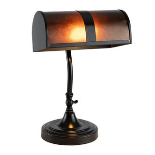 Link to Bankers Lamp with Amber Mica Shade by Lavish Home Similar Items in Table Lamps