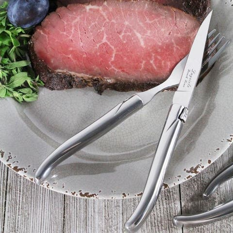 French Home Laguiole Connoisseur Stainless Steel 8-piece Steak Knife and Fork Set. - Silver