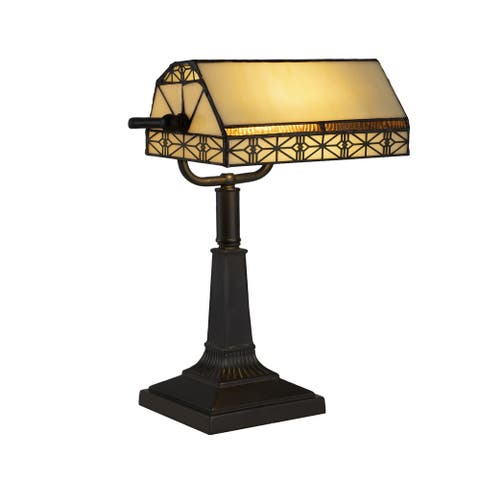 Tiffany Style Bankers Lamp Stained Glass by Lavish Home
