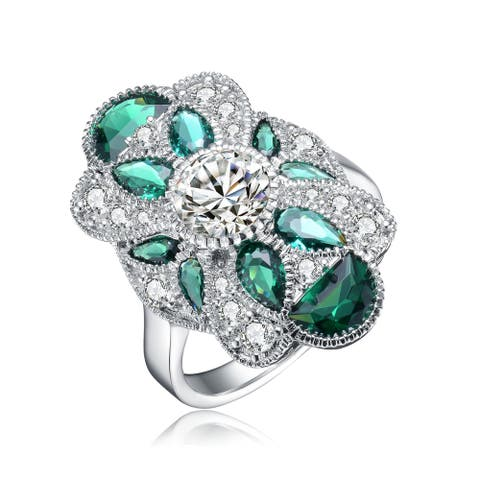 Collette Z Sterling Silver Pear and Round Cubic Zirconia Coctail Ring